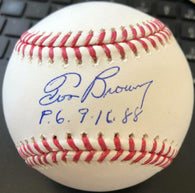 Tom Browning Signed Rawlings Official Major League Baseball w/ PG 9-16-88 Insc