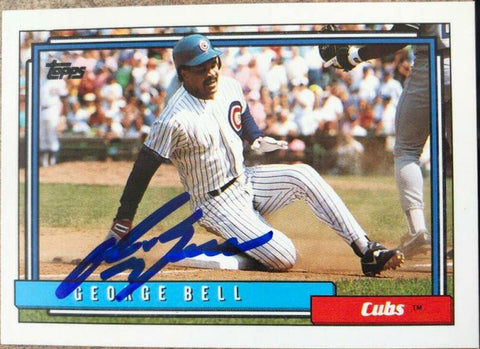George Bell Signed 1992 Topps Baseball Card - Chicago Cubs