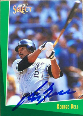 George Bell Signed 1993 Score Select Baseball Card - Chicago White Sox
