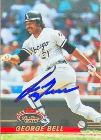 George Bell Signed 1993 Stadium Club Baseball Card - Chicago White Sox