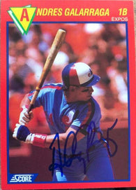 Andres Galarraga Signed 1989 Score Hottest Players Baseball Card - Montreal Expos