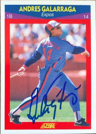 Andres Galarraga Signed 1990 Score 100 Superstars Baseball Card - Montreal Expos