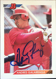 Andres Galarraga Signed 1992 Bowman Baseball Card - St Louis Cardinals