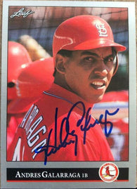 Andres Galarraga Signed 1992 Leaf Baseball Card - St Louis Cardinals