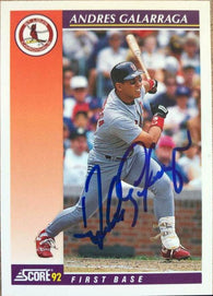 Andres Galarraga Signed 1992 Score Rookies/Traded Baseball Card - St Louis Cardinals