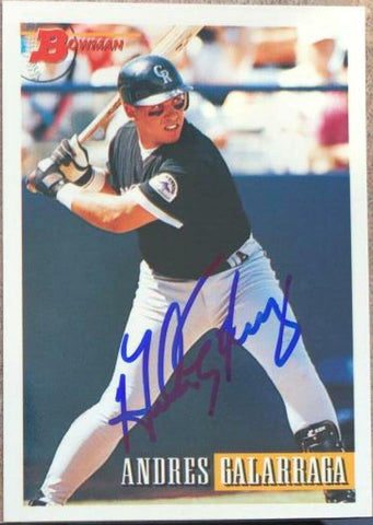 Andres Galarraga Signed 1993 Bowman Baseball Card - Colorado Rockies
