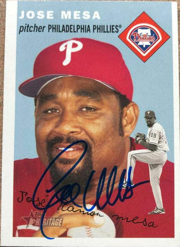 Jose Mesa Signed 2003 Topps Heritage Baseball Card - Philadelphia Phillies