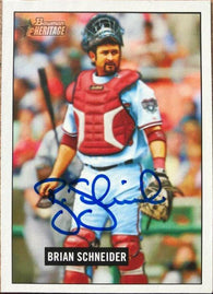 Brian Schneider Signed 2004 Bowman Heritage Baseball Card - Washington Nationals