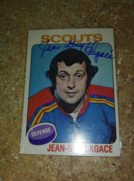 Jean-Guy Lagace Signed 1975-76 Topps Hockey Card - Kansas City Scouts - PastPros