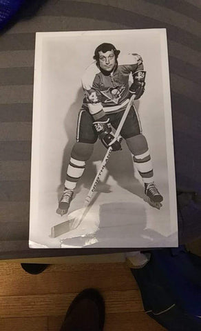 Jean-Guy Lagace Signed B&W Photo - Pittsburgh Penguins - PastPros