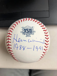 Herm Winningham Signed Cincinnati Reds 150th Anniversary Baseball