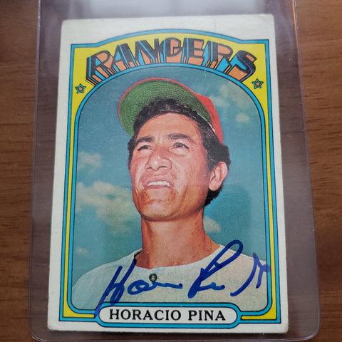 Horacio Pina Signed 1972 Topps Baseball Card - Texas Rangers