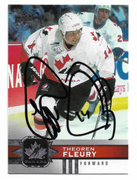 Theoren Fleury Signed 2017-18 Upper Deck Canadian Tire Hockey Card - Team Canada