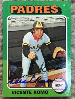Vicente Romo Signed 1975 Topps Baseball Card - San Diego Padres