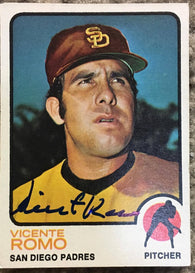 Vicente Romo Signed 1973 Topps Baseball Card - San Diego Padres