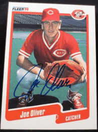 Joe Oliver Signed 1990 Fleer Baseball Card - Cincinnati Reds