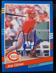 Joe Oliver Signed 1991 Donruss Baseball Card - Cincinnati Reds