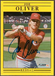 Joe Oliver Signed 1991 Fleer Baseball Card - Cincinnati Reds