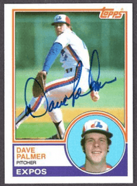 Dave Palmer Signed 1983 Topps Baseball Card - Montreal Expos
