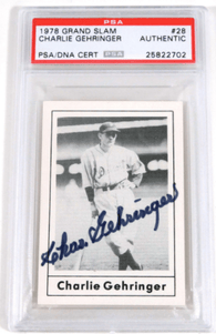 Charlie Gehringer Signed 1978 Grand Slam Baseball Card – PSA/DNA Certified