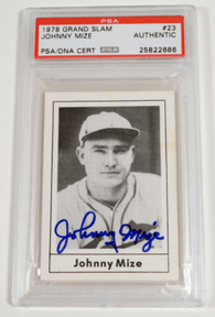 Johnny Mize Signed 1978 Grand Slam Baseball Card – PSA/DNA Certified - PastPros