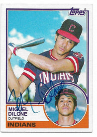 Miguel Dilone Signed 1983 Topps Baseball Card - Cleveland Indians - PastPros