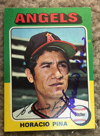 Horacio Pina Signed 1975 Topps Traded Baseball Card - California Angels