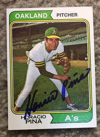 Horacio Pina Signed 1974 Topps Baseball Card - Oakland A's