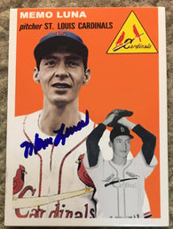 Memo Luna Signed Replica 1954 Topps Baseball Card - St Louis Cardinals - PastPros