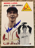 Memo Luna Signed Replica 1954 Topps Baseball Card - St Louis Cardinals