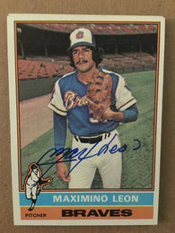 Max Leon Signed 1976 Topps Baseball Card - Atlanta Braves