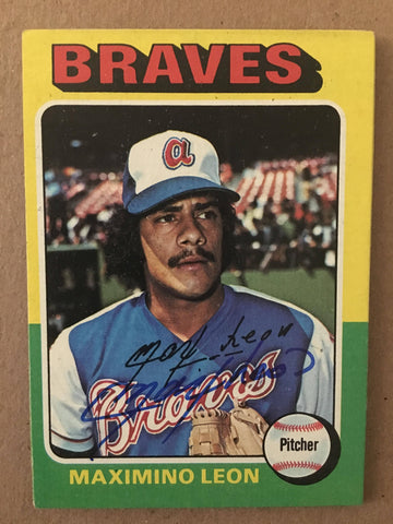 Max Leon Signed 1975 Topps Baseball Card - Atlanta Braves