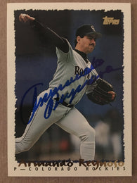 Armando Reynoso Signed 1995 Topps Baseball Card - Colorado Rockies - PastPros