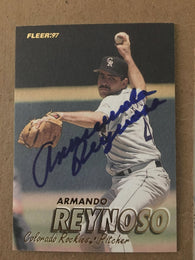 Armando Reynoso Signed 1997 Fleer Baseball Card - Colorado Rockies - PastPros