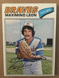 Max Leon Signed 1977 Topps Baseball Card - Atlanta Braves