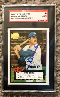 Duke Snider Signed 2001 Topps Archives Baseball Card - Brooklyn Dodgers - SGC Certified - PastPros