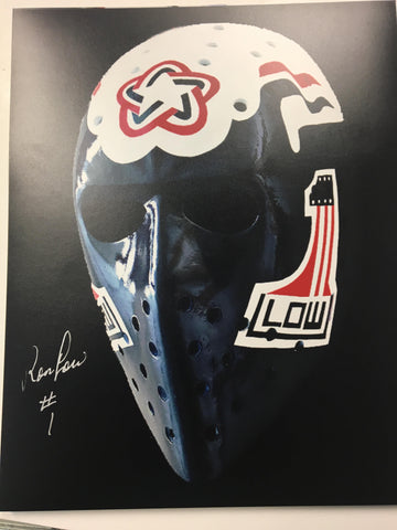 Ron Low Signed 8x10 Colour Photo - Washington Capitals Mask - PastPros