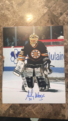 Andy Moog Signed 8x10 Color Photo - Boston Bruins (black)