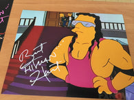 "Bret ""The Hitman"" Hart Signed 8x10 Color Photo - Simpsons - WWF"