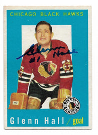 Glenn Hall Signed 1959-60 Topps Hockey Card - Chicago Blackhawks - PastPros