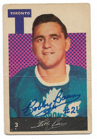 Bob Baun Signed 1962-63 Parkhurst Hockey Card - Toronto Maple Leafs - PastPros