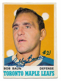 Bob Baun Signed 1970-71 OPC O-Pee-Chee Hockey Card - Toronto Maple Leafs - PastPros
