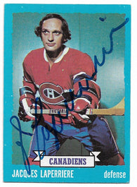Jacques Laperriere Signed 1973-74 Topps Hockey Card - Montreal Canadiens