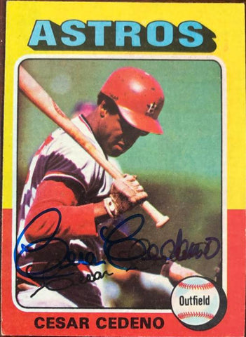 Cesar Cedeno Signed 1975 Topps Baseball Card - Houston Astros - PastPros