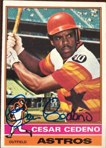 Cesar Cedeno Signed 1976 Topps Baseball Card - Houston Astros - PastPros