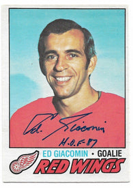 Ed Giacomin Signed 1977-78 OPC O-Pee-Chee Hockey Card - Detroit Red Wings - PastPros