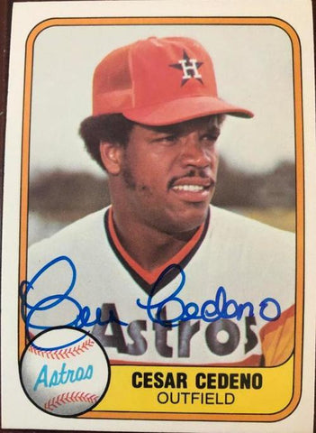 Cesar Cedeno Signed 1981 Fleer Baseball Card - Houston Astros - PastPros
