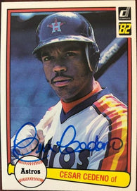 Cesar Cedeno Signed 1982 Donruss Baseball Card - Houston Astros - PastPros