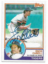 Enos Cabell Signed 1983 Topps Baseball Card - Detroit Tigers