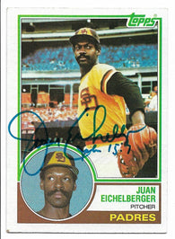 Juan Eichelberger Signed 1983 Topps Baseball Card - San Diego Padres